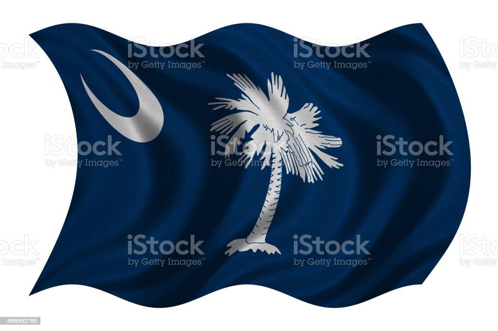 Flag of South Carolina waving on white, textured stock photo