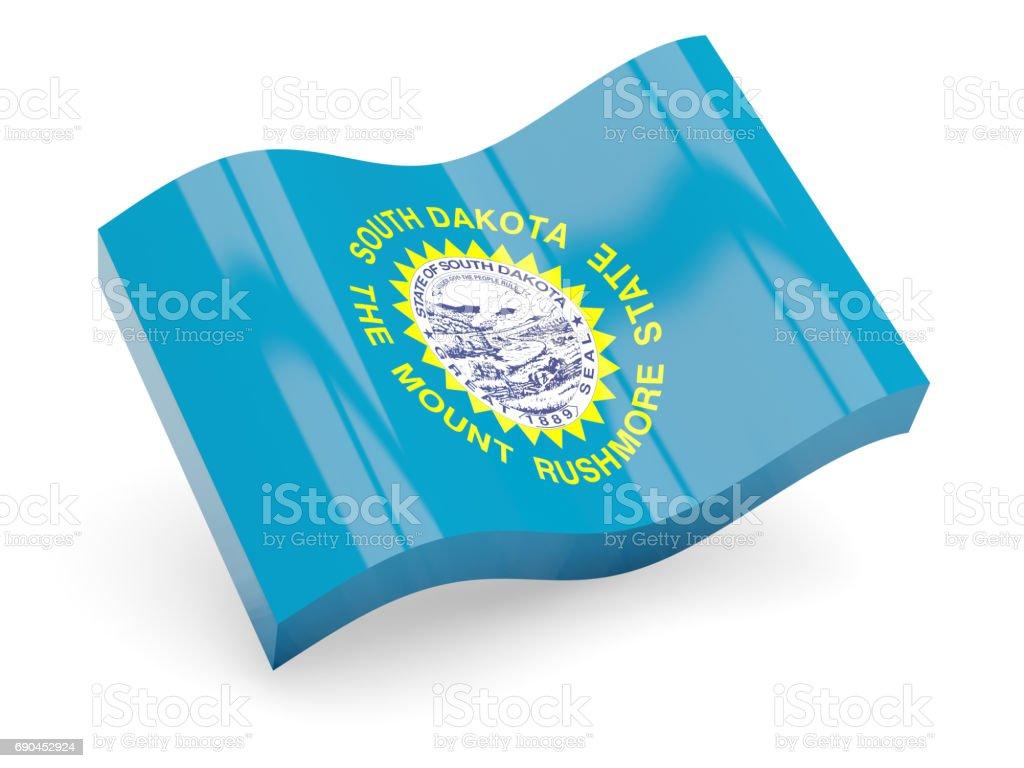 Flag of south dakota, US state wave icon stock photo