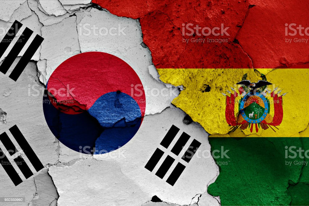 flag of South Korea and Bolivia painted on cracked wall stock photo