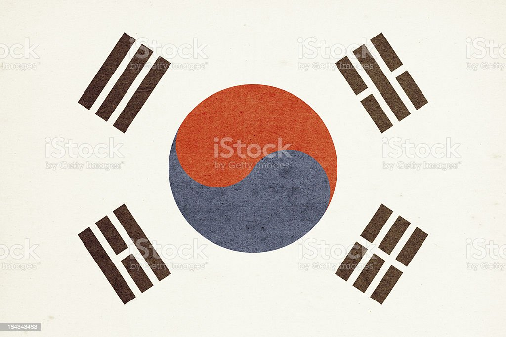 Flag of South Korea Close-Up (High Resolution Image) royalty-free stock photo