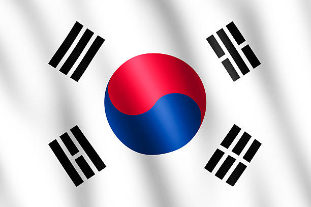 Flag of South Korea waving in the wind stock photo