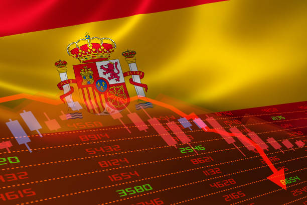 Flag of Spain and Economic Downturn With Stock Exchange Market Indicators in Red stock photo