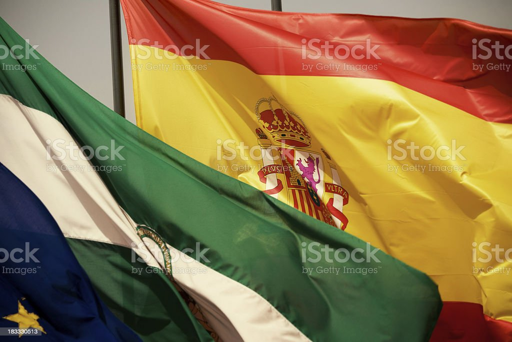 Flag of Spain and Granada royalty-free stock photo
