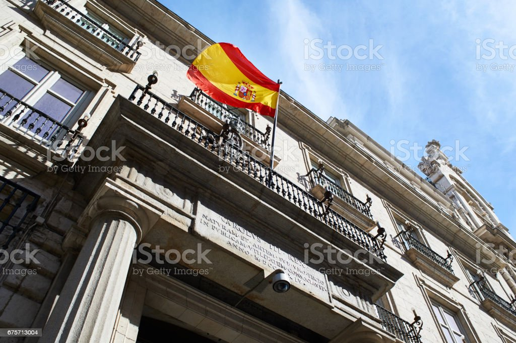 Flag of Spain on a government building 免版稅 stock photo