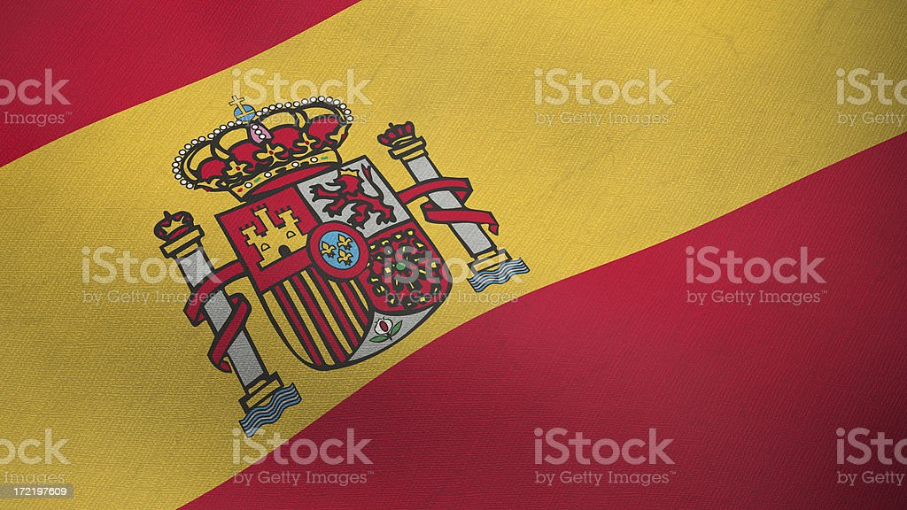 3D flag of Spain royalty-free stock photo