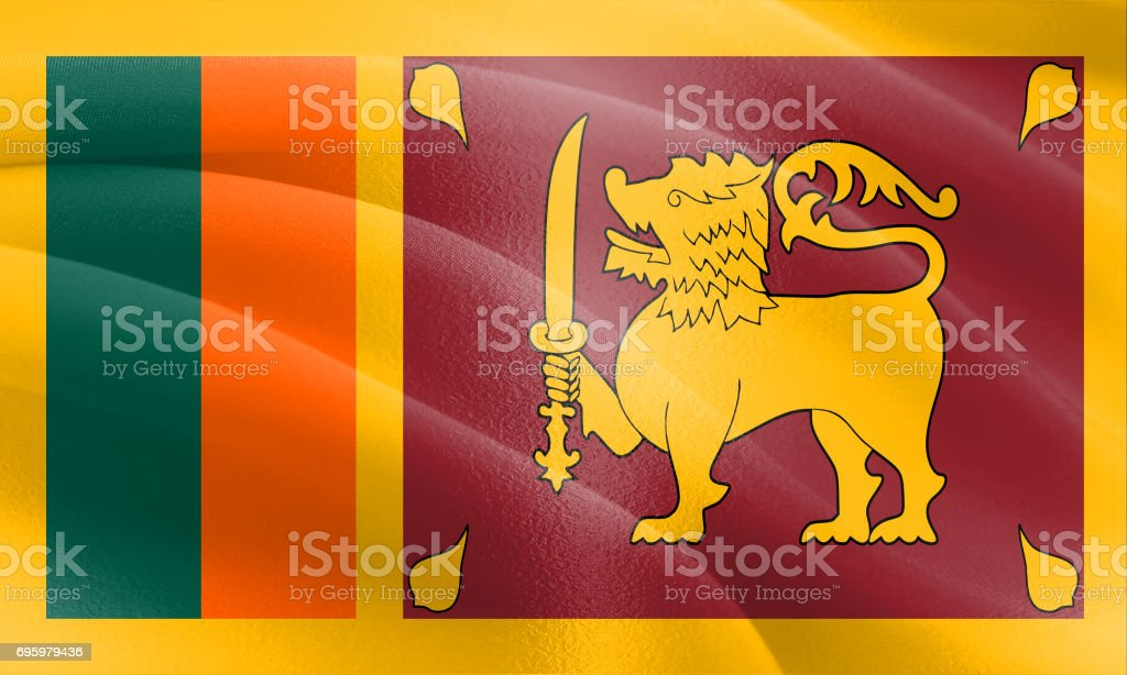 Flag of Sri Lanka with a cloth texture and subtle highlights stock photo
