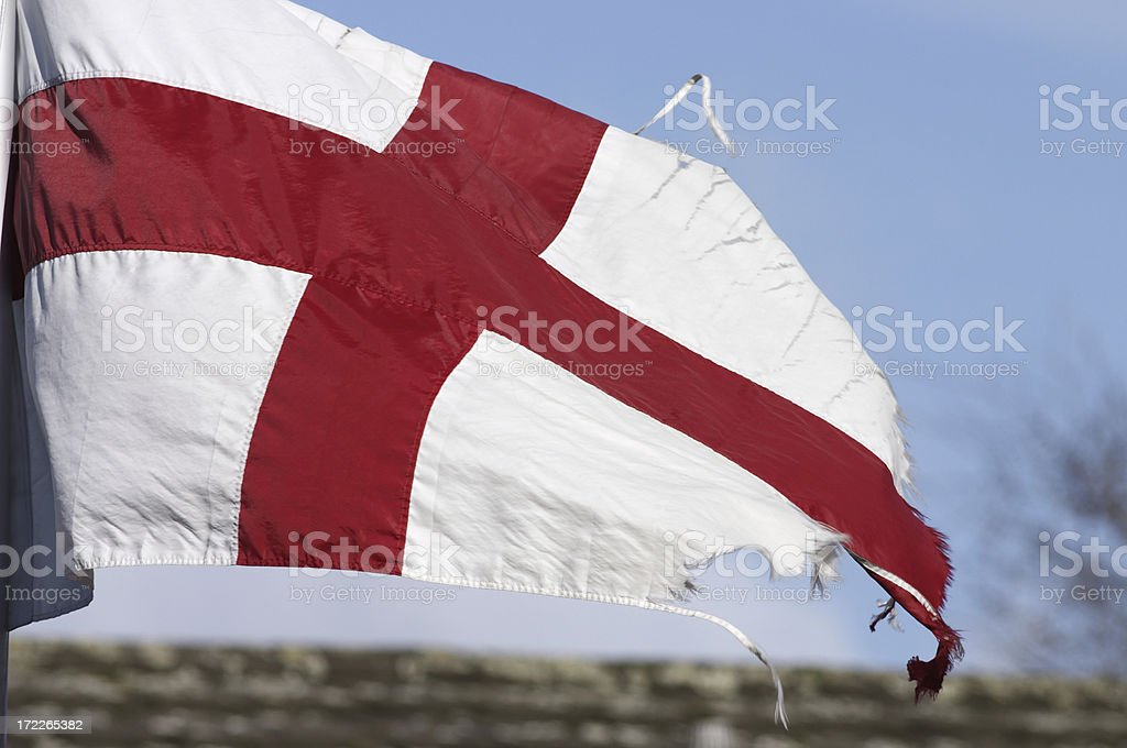 Flag of St. George slightly tattered stock photo