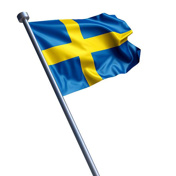 Bandeira da Suécia isolada no branco - foto de acervo