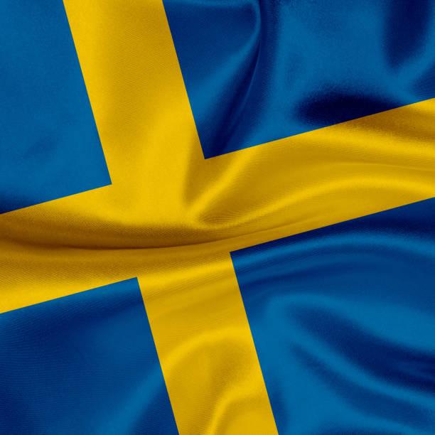 Bandeira da Suécia acenando fundo - foto de acervo
