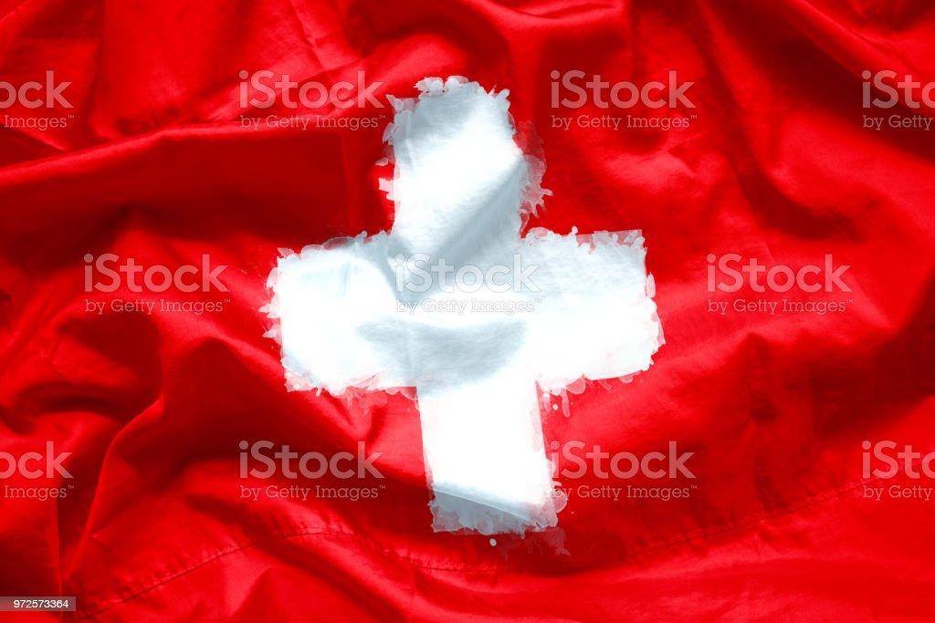 Flagge der Schweiz von Aquarell Pinsel auf Canvas Stoff, Grunge-Stil – Foto
