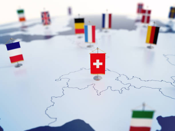 Flag of Switzerland in focus among other European countries flags stock photo