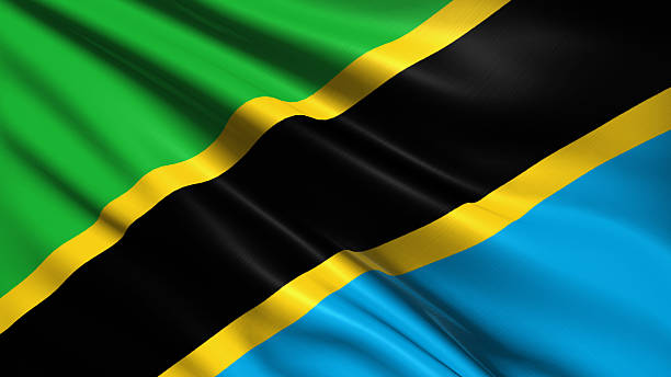 flag of Tanzania Tanzanian flag with fabric structure tanzania stock pictures, royalty-free photos & images