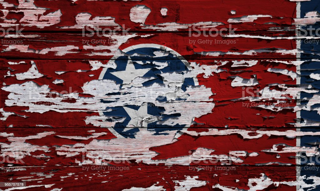 Bandeira de Tennessee pintado numa prancha de grunge - foto de acervo