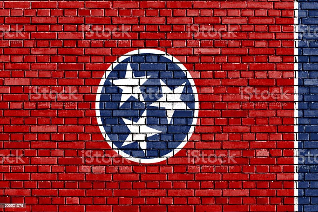 Bandeira do Tennessee pintado na parede de tijolos - foto de acervo