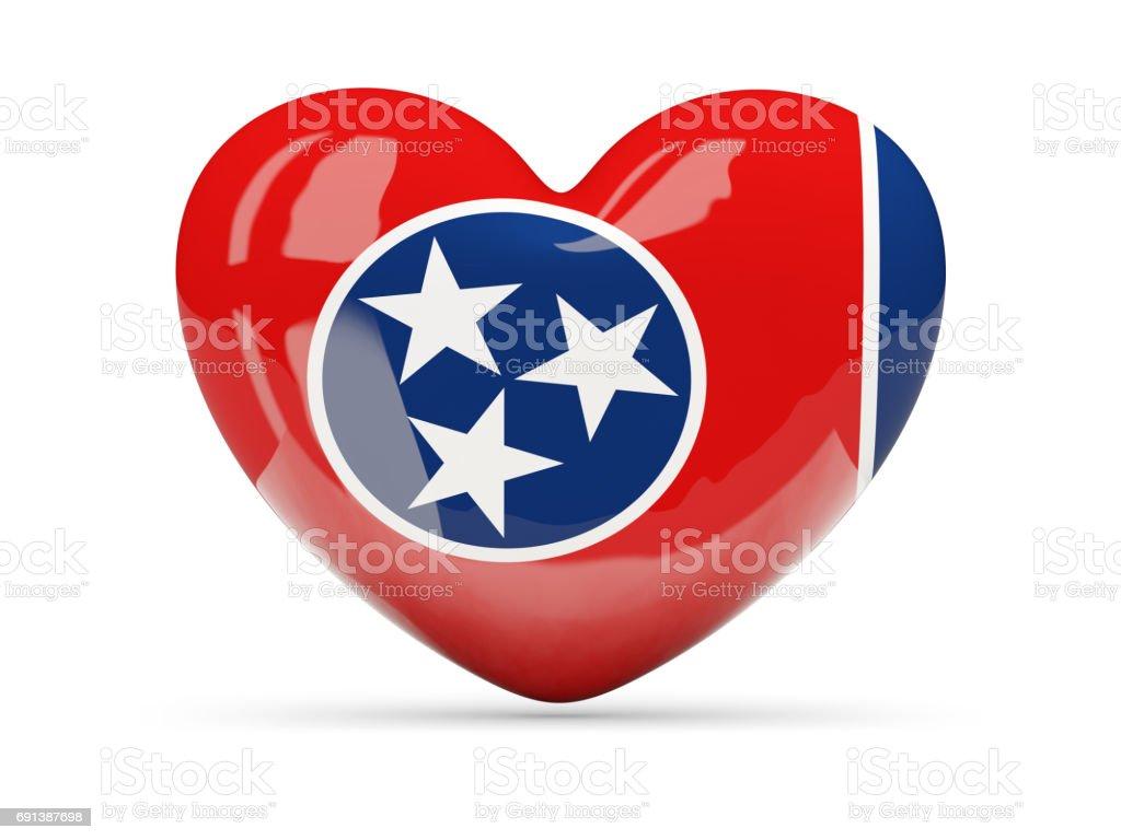 Bandeira do tennessee, ícone de coração de estado dos EUA - foto de acervo