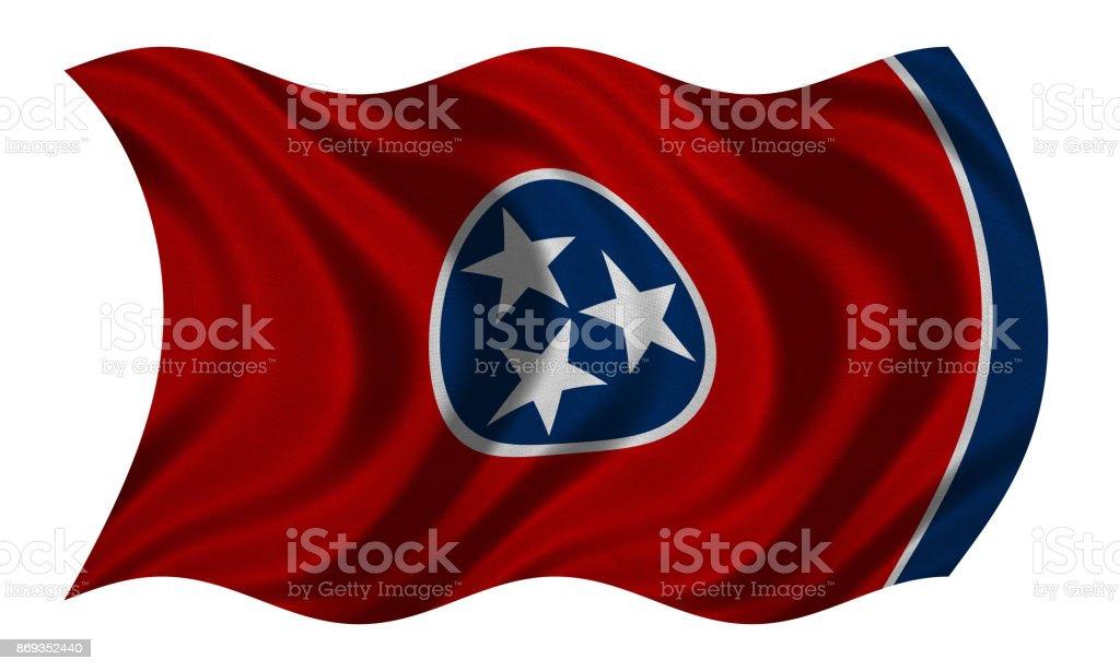 Bandeira de Tennessee ondulado na textura de tecido branco, - foto de acervo