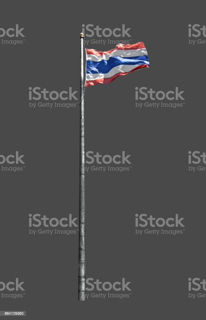 Flag of Thailand or Thai Flag on Flagpole on Gray Background, Clipping Path royalty-free stock photo