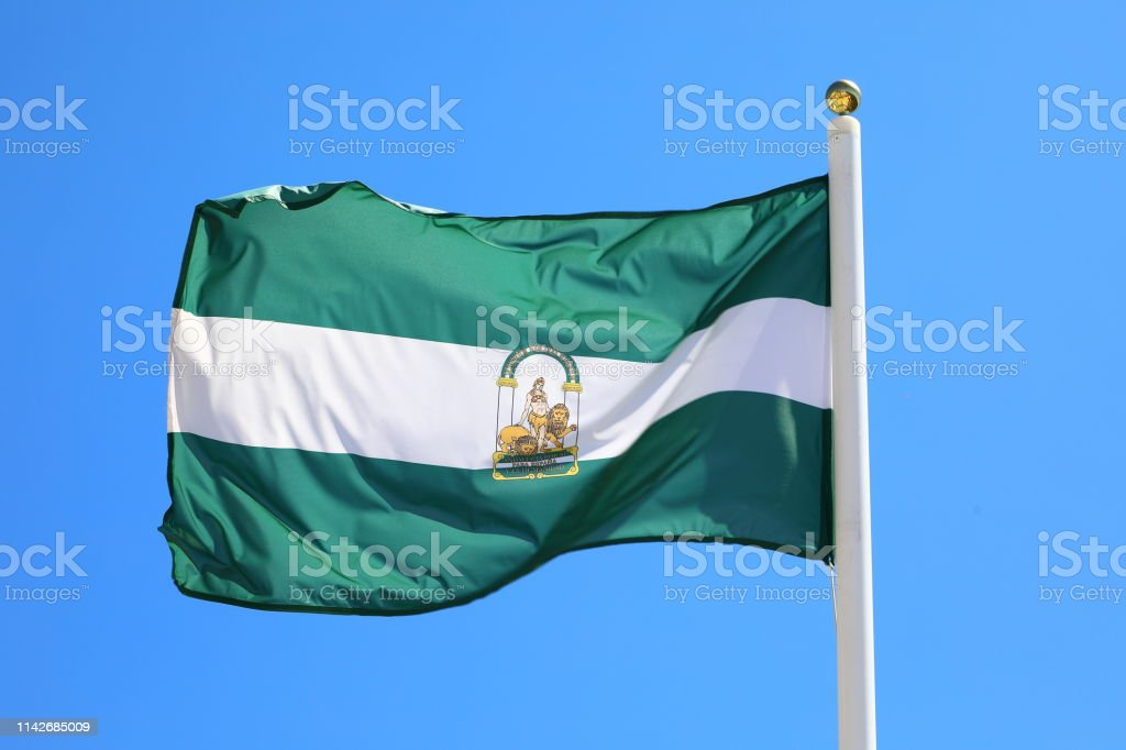 Flag of the Andalucia Province, Spain stock photo