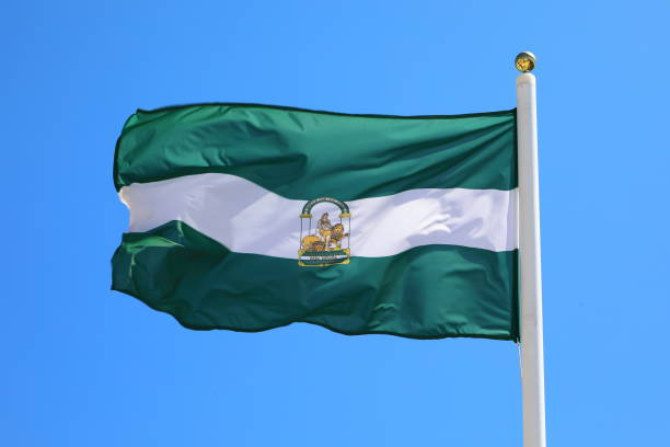 flag of the andalucia province, spain - pejft stock photos and pictures