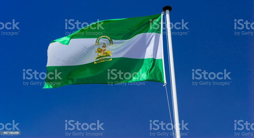 Flag of the autonomous community of andalucia . Reversed stock photo