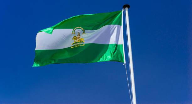 bandera de la comunidad autónoma de andalucía. invertida - andalusian flag fotografías e imágenes de stock