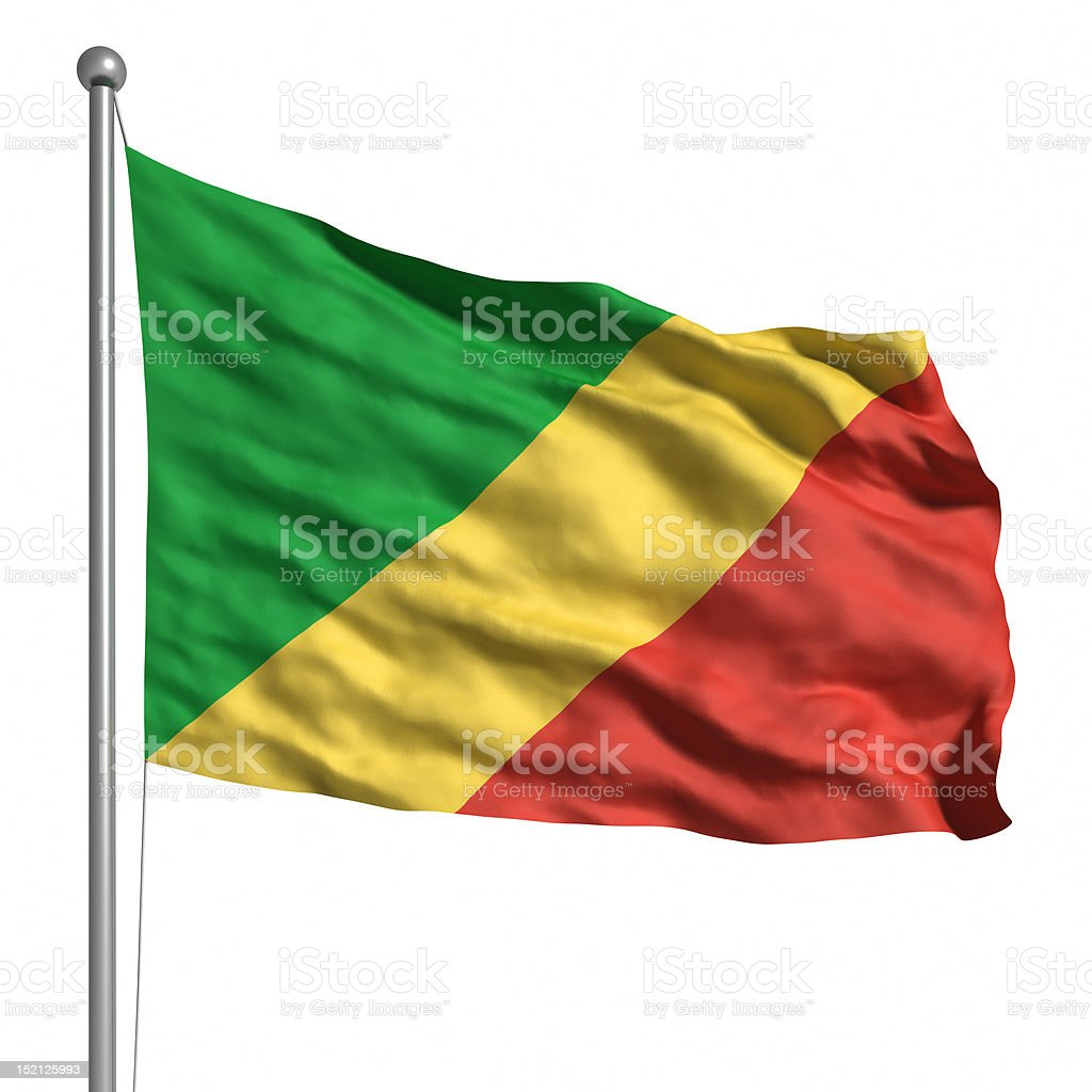 Flag of the Congo (Isolated) stock photo