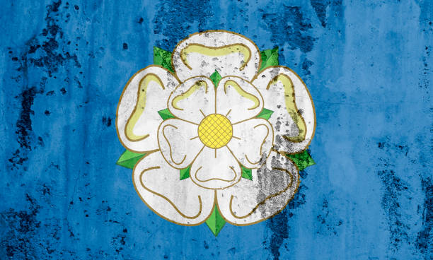 flag of the county of yorkshire - doncaster foto e immagini stock