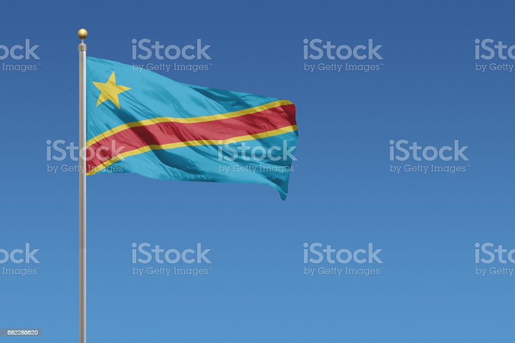 Flag of the Democratic Republic of the Congo stock photo