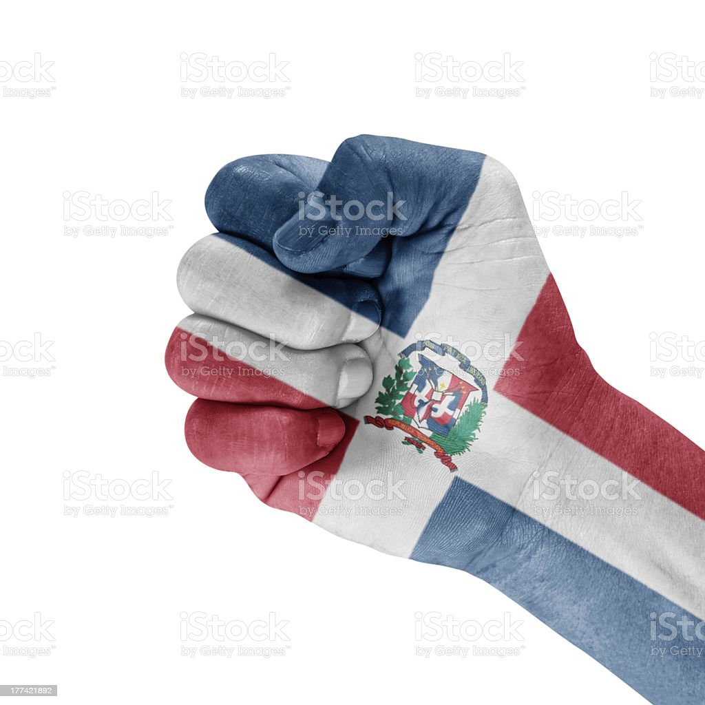 Flag Of The Dominican Republic On Hand. royalty-free stock photo