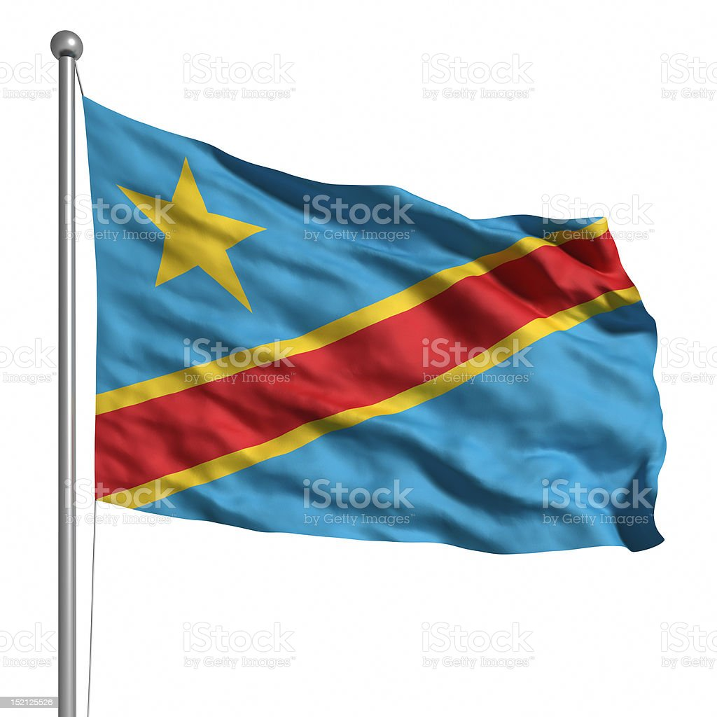 Flag of the DR Congo (Isolated) stock photo