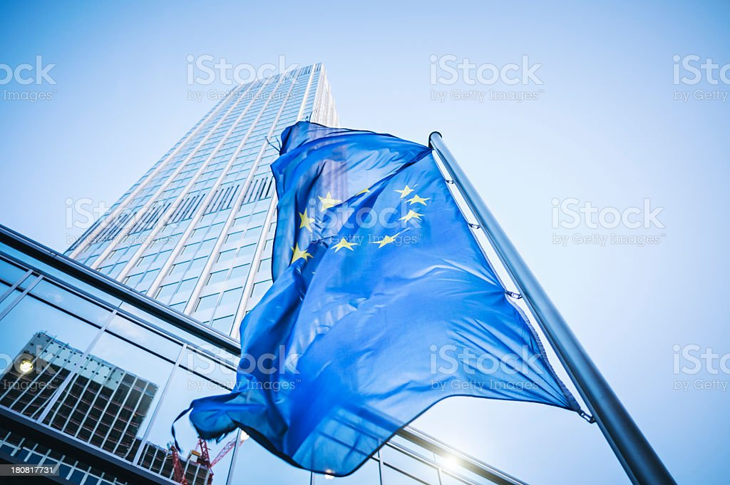 Flag of the European Community - Eurotower stock photo
