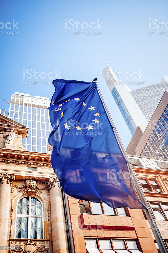 Flag of the European Community - Frankfurt am Main royalty-free stock photo