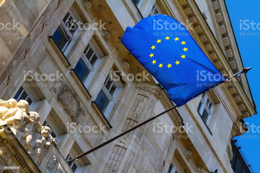 Flag of the European Union at the Budapest city hall stock photo