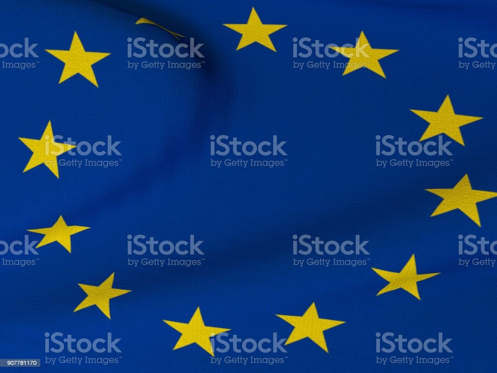 Flag of the European Union blowing in the wind with fabric texture. stock photo