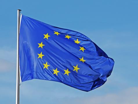 Flag of EU in the wind