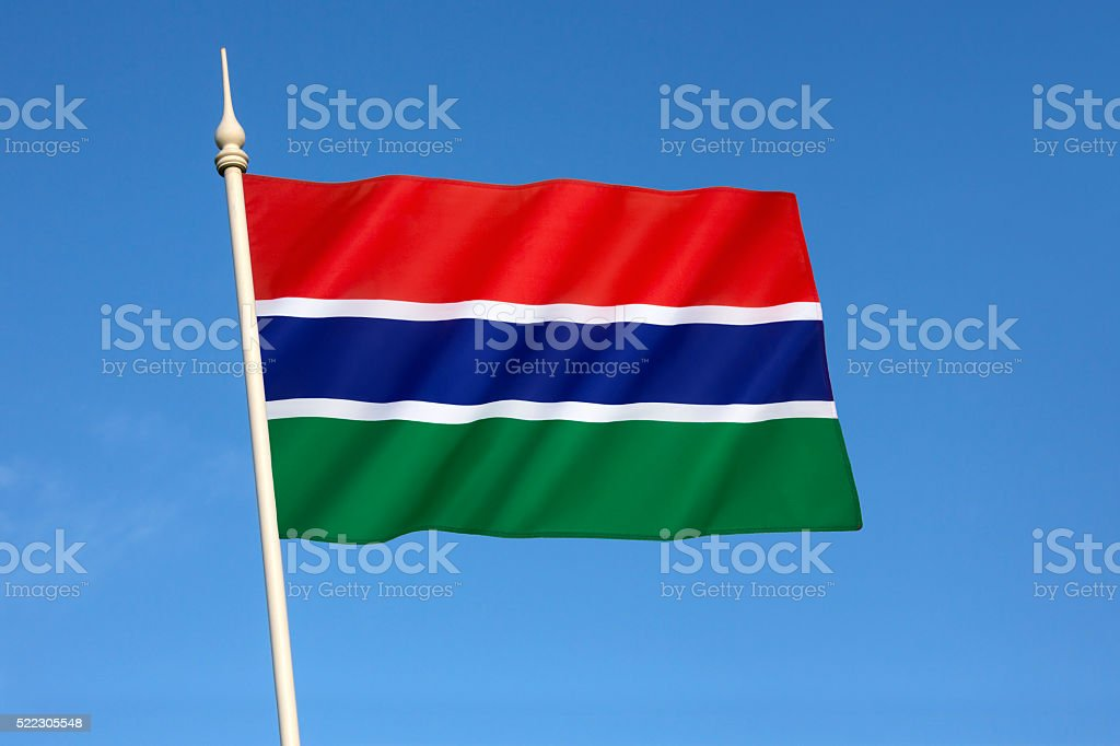 Flag of the Gambia stock photo