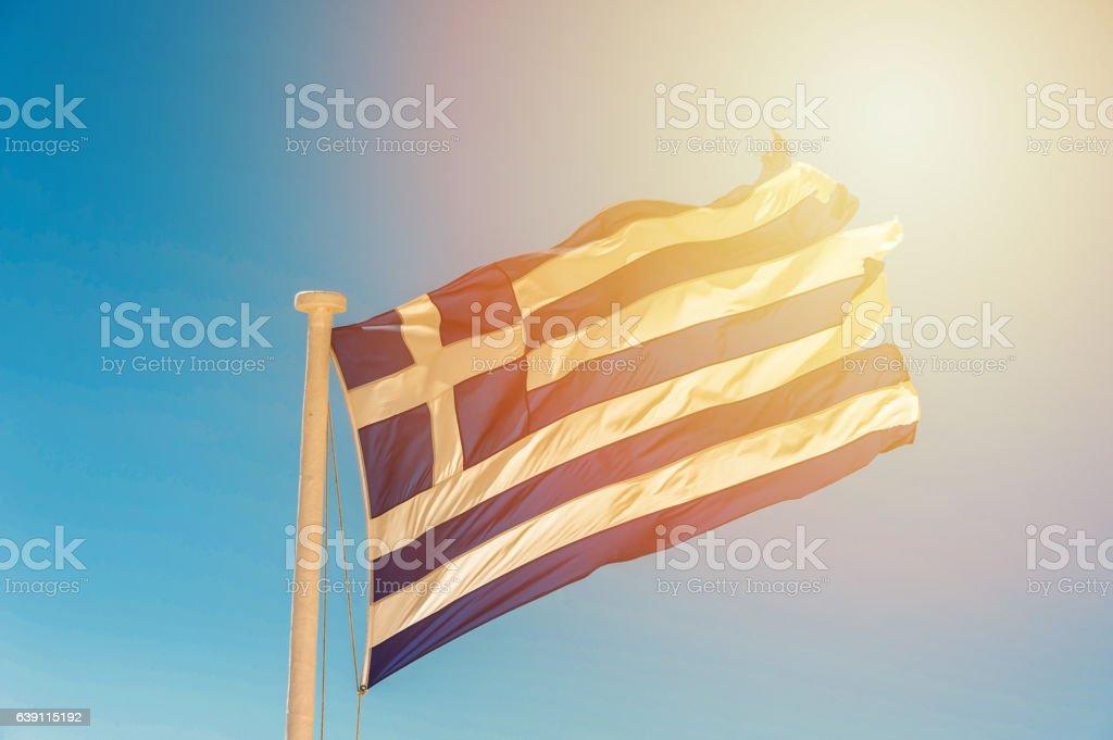 Bandera de la Grecia en el viento - foto de stock