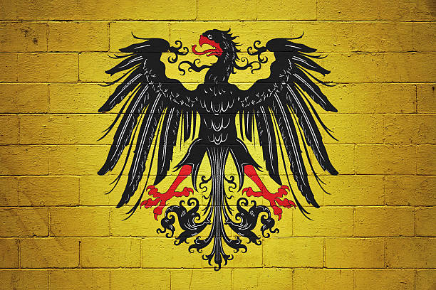 Flag of the Holy Roman Emperor painted on a wall - Photo