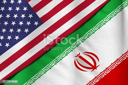 Flag of the Islamic Republic of Iran. Flag of the United States of America.