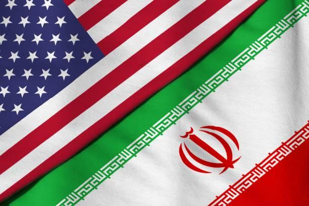 flagge von der islamischen republik iran. flagge der vereinigten staaten von amerika. - iranische stock-fotos und bilder