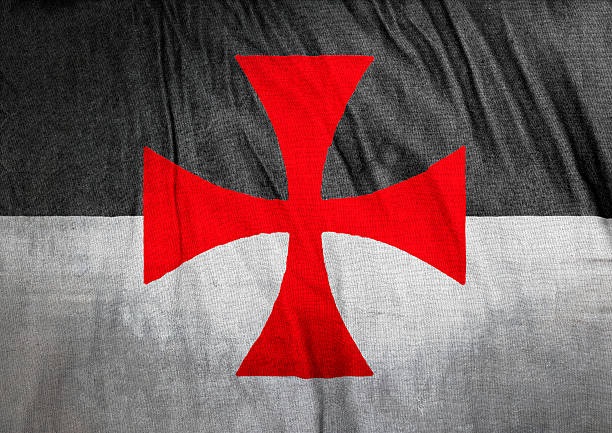 flag of the knights templar - knights templar stock pictures, royalty-free photos & images