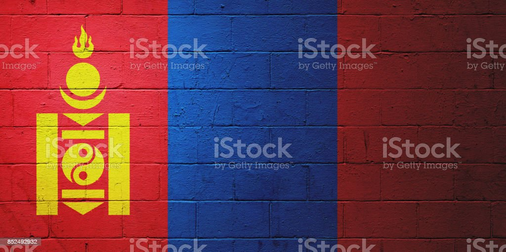 Flag of the Mongolia painted on a wall stock photo