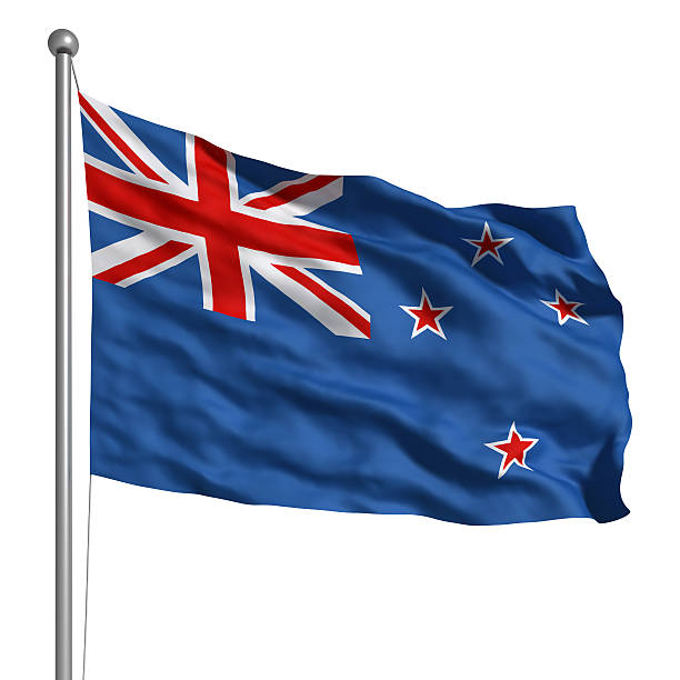 flag of the new zealand (isolated) - new zealand flag stock photos and pictures