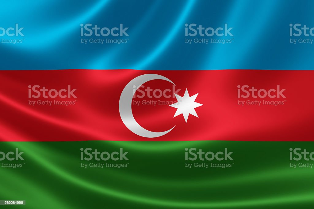Flag of the Republic of Azerbaijan stock photo