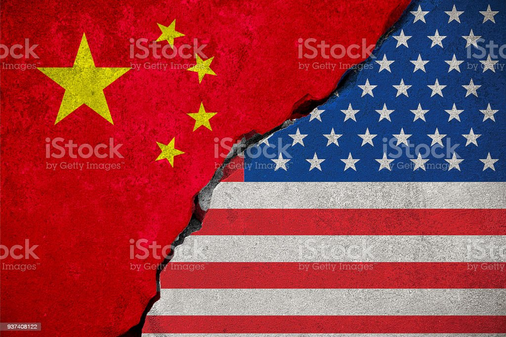 flag of the republic of china on broken brick wall and half usa united states of america flag, crisis president and china for nuclear atomic and customs duties on products tax export, import foto stock royalty-free