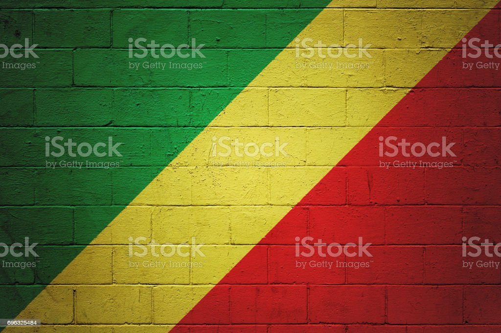 Flag of the Republic of the Congo painted on a wall stock photo