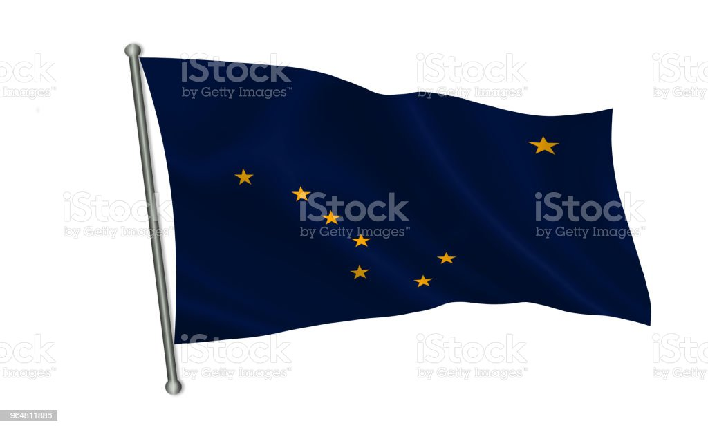 "Flag of the state Alaska. A series of ""flags of the United States of America"" royalty-free stock photo"