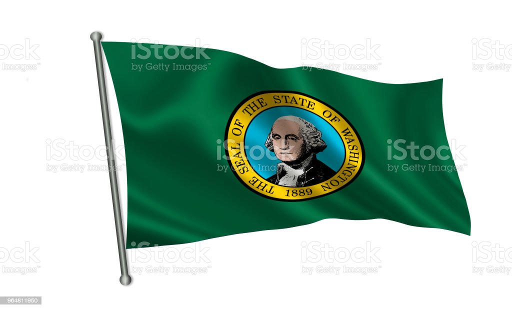 "Flag of the state Washington. A series of ""flags of the United States of America"" royalty-free stock photo"