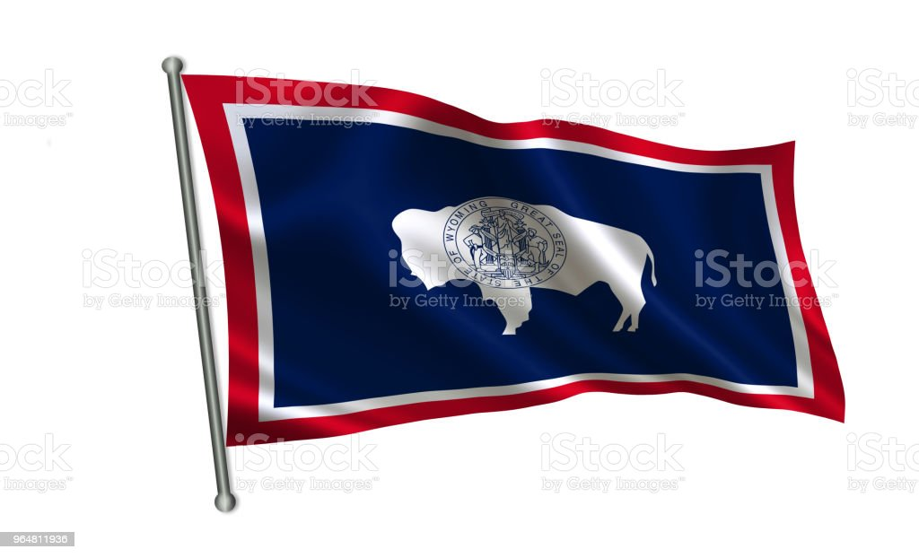 "Flag of the state Wyoming. A series of ""flags of the United States of America"" royalty-free stock photo"