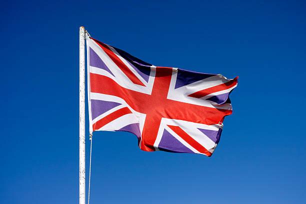 플랙 영국 손 흔드는 풍력 - 영국 국기 뉴스 사진 이미지